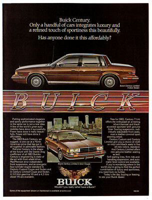 1983 BUICK Century Limited Vintage Original Print AD Brown car art 4-door sedan