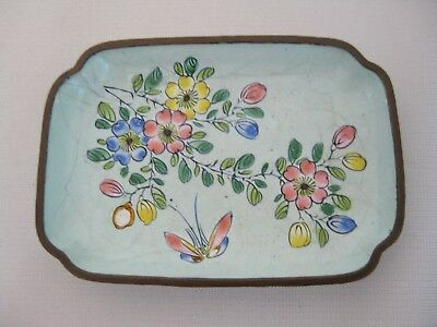 Antique Vintage c.1920's Chinese Canton Enamel Butterfly & Flowers Pin Tray