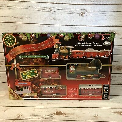 Eztec Christmas Train With Sound Station 53 Pc Set Over 16 Ft Track SS