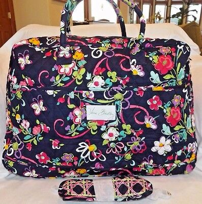 Vera Bradley Grand Traveler Bag Weekend Carry On Tote Ribbons Navy New With Tag