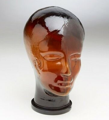 Vintage Amber Glass Store Display Mannequin Wig Hat Head Bust with Hair WOMAN