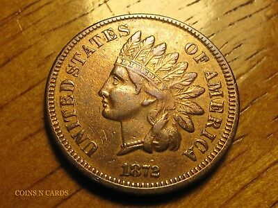 1872 1C Indian Head Cent Attractive Multi-toned About Uncirculated Details Rare!