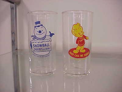 2 Vintage Squirt Boy Drinking Glasses Soda Pop Snowball Gin 1952  Call Me Squirt
