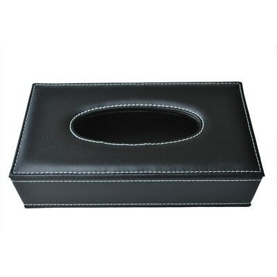 Car Home Rectangle Shaped Faux Leather Case Paper Tissue Box Holder Black U8B5