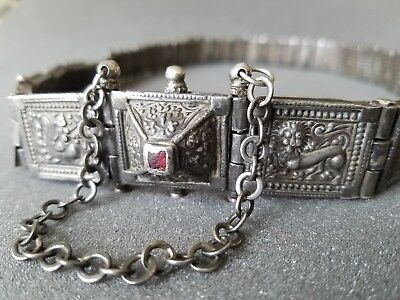 Antique Silver Arapatti Indian Belt with Red Jewel  - Aboslutley Gorgous!