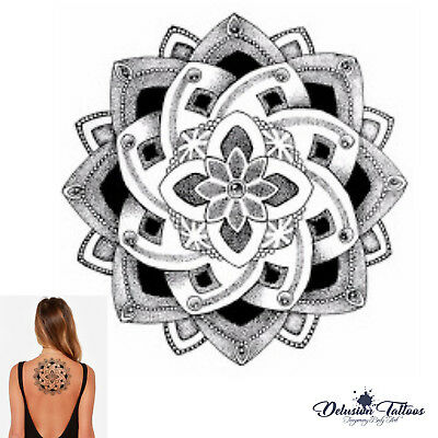 Temporary Tattoo Mandala - Lotus Flower Geometric Black Body Art Waterproof Sexy