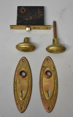 Antique Victorian Pressed Brass Door Plates With Knobs And Lock Set Floral Motif