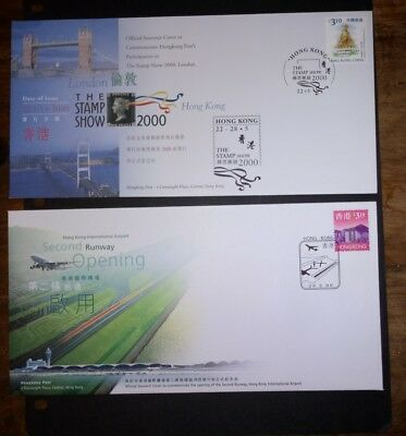 Hong Kong stamps fdc $3.10 stamp show 2000 & $3.10 1999 second runway.