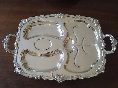 STUNNING Large ETON Silverplate Footed Serving Divided Meat Platter Tray