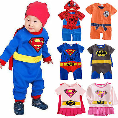 Newborn Baby Kids Boys Girls Superheros Romper Jumpsuit Playsuit Bodysuit Cosume