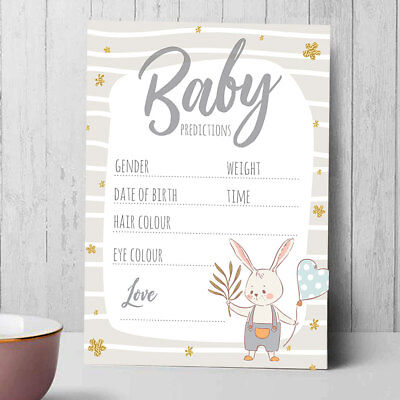 Baby Shower Games Prediction & Advice Cards Grey Neutral New Mum To Be Bunny C2