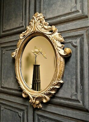 Vintage Antique Oval Baroque Rococo Ornate Decorative Wall Mirror Shabby Chic