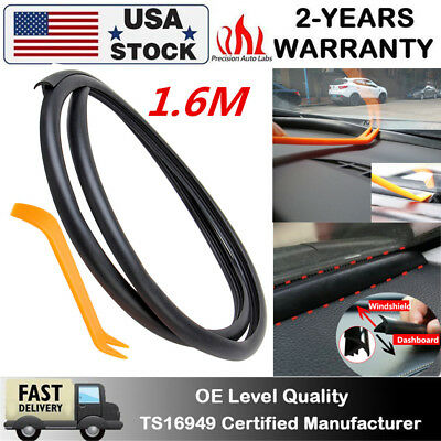 Rubber 1.6m Soundproof Dustproof Sealing Strip Car Dashboard Windshield Pad Trim