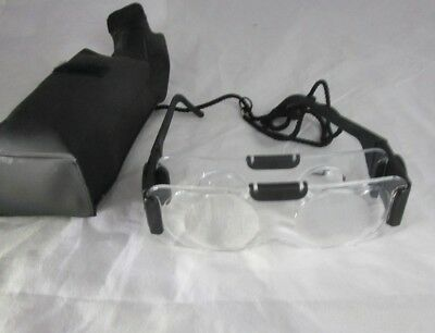 Coil 2X TV Magnifying Binocular Glasses Hands Free Visual Aid Spectacles & Case