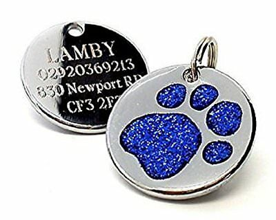 Personalised Engraved 25mm Glitter Blue Paw Print Dog Pet ID Tag ...