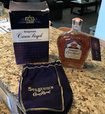 Vintage House Of Seagram's Crown Royal Whiskey 1957 Canadian Unopened Bag & Box!