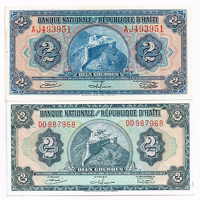 LOT OF TWO 1951-67 HAITI TWO GOURDES NOTES - p179a,191a