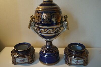 Meissen twin handle urn together with two pots, XX century
