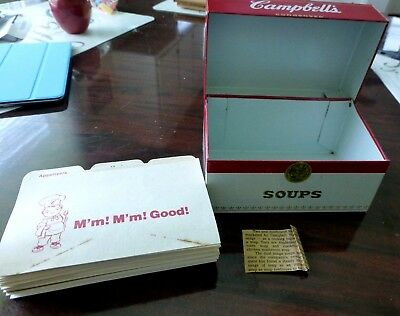 Vintage 70's Campbell's Condensed Soups Tin Metal Recipe Box w/Cards & Dividers