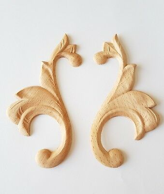 Turned Wooden Ornaments 60x130x3mm Pair