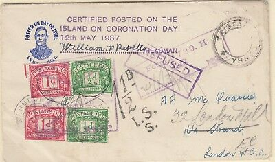 1937 Tristan Da Cunha signed by the HEADMAN with 4 x GB Postage Dues V Scarce