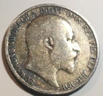 Nice 1909 UK Great Britain EDWARD VII Silver Coin6 Pence