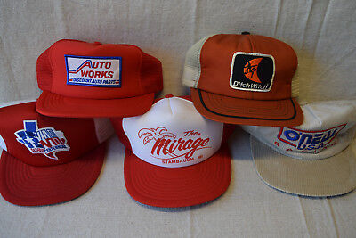 Lot of 5 Vintage Trucker Hats Snapback Baseball Ditch Witch Autoworks Texas #9