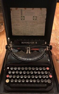 Vintage Remington Rand Model 5 Portable Typewriter With Case Late 1930s