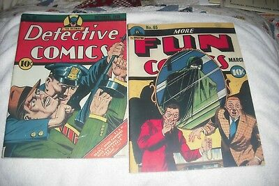 More Fun  #-65,  Detective#-32 (1942 ), 2 Nice Outside, Facsimile Covers Only.