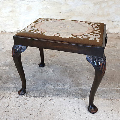 Queen Anne Style Carved Mahogany Needlepoint Tapestry Stool - C20th