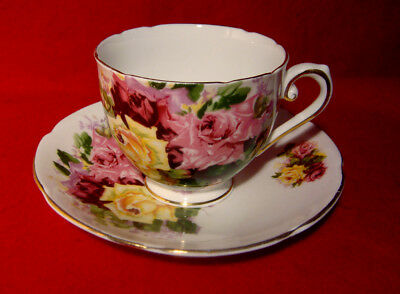 Stanley Cup & Saucer Pink Red Yellow Roses Gold Trim Made In England