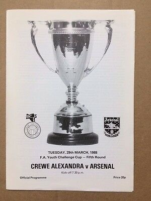Crewe Alexandra Youths v Arsenal Youths. FA Youth Cup 1987-1988