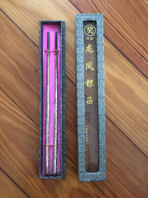 Antique silver chopsticks with box, from China