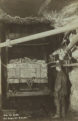 """1890's Original Photograph """"Car On Cage At Foot Of Shaft"""" MINING East PA"""