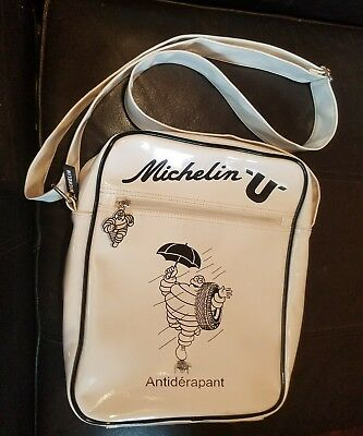 BIG FRENCH ITALIAN MICHELIN MAN COLLECTIBLE Vinyl Tote Bag LINED PURSE 12x12 EC!