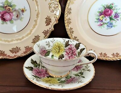 Vintage Paragon England Fine Bone China 'autumn Glory' Tea Cup & Saucer C1940's