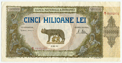 ROMANIA 1947 ISSUE 5,000.000 LEI LARGE BANKNOTE VERY CRISP XF.PICK#61a.