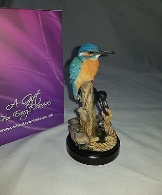 Country Artists - Broadway Birds - Kingfisher On Mooring Post Figurine