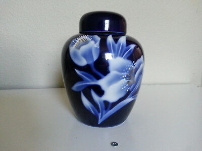 "Vintage Deep Blue Japanese porcelain Ginger Jar from ""Ray Control"""