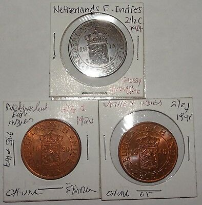 Netherlands East Indies 2 ½ Cents 1914, 1920, 1945 All Unc (3 coins total)