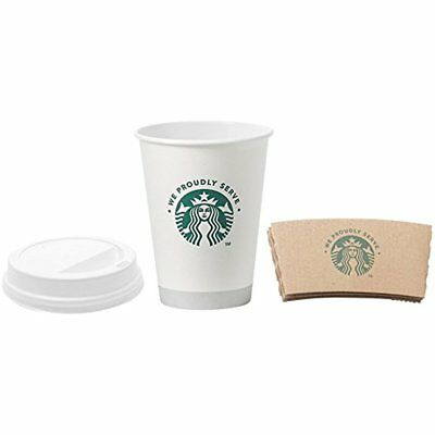 Starbucks White Disposable Hot Paper Cup, 12 Ounce, Sleeves And Lids (Pack Of 50