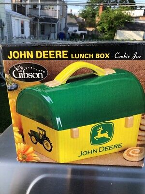 NEW Gibson CERAMIC JOHN DEERE LARGE DOME TOP LUNCH BOX  COOKIE JAR+ Salt Peppers