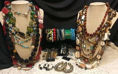 Lot of 39 Piece Vintage Wood Lucite Bead Necklaces Earring Bracelet Boho Jewelry