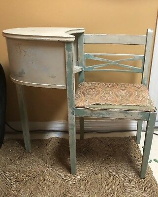 Vintage Wooden Telephone Table Chair Seat Desk Mid Century