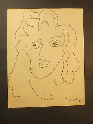 Original Charcoal Portrait Drawing Of Woman, Signed Matisse, Estate