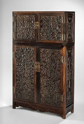 Antique Chinese ZItan Cabinet Qing Dynasty