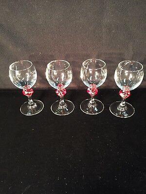 Eloquent Cordial Crystal Liquor Glasses France Tiny Barware Stem W/Colored Ball