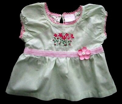 Nannette Girl Toddler Girls 2T Short Sleeve Summer Lt Green w/ Pink Trim Top EUC