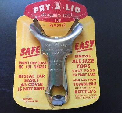 Vtg Pry-A-Lid Jar, Tumbler, Bottle Top Remover Unused, New Old Stock on Card