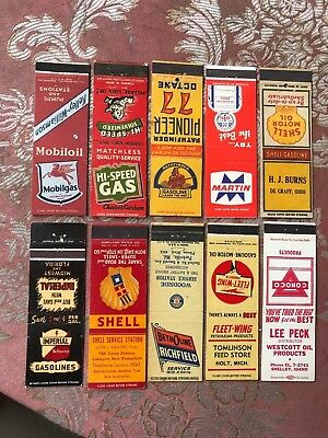 50 early gas and oil matchbook covers many brands